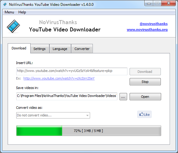 NoVirusThanks YouTube Video Downloader 1.4.0.0 – загрузка видео из YouTube