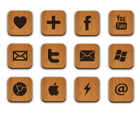 Иконки 50 Free Wood Textured Social Media Icons от Creative Nerds