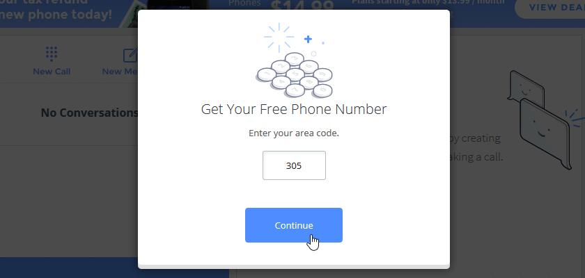 Ввод телефонного кода области на сайте TextNow